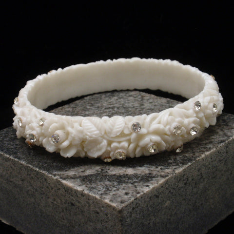 White Featherlite Bangle Bracelet Floral Design Japan