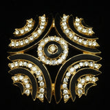 Black Enamel and Rhinestone Pin