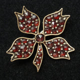 Antique Bohemian Garnets Pin Small Flower Beauty Lingerie