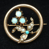 Gold and Opal Circle Pin