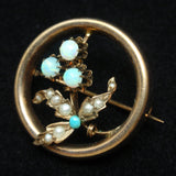 Antique 14k Gold Circle Pin w/ Seed Pearls & Opals