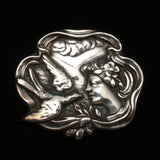 Art Nouveau Pin Vintage Sterling Silver Brooch Woman Profile Swallow Bird