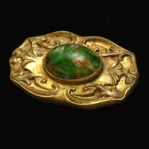 Antique Pin with Art Glass Cab
