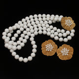 Castlecliff Necklace Earrings Set Milk White Triple Strand Vintage