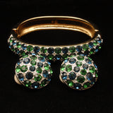 Blue & Green Swarovski Crystals Bangle Bracelet and Earrings Set