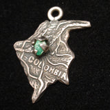 Columbia Map Charm 900 Silver Vintage Topographical Rough Emerald