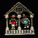 Corocraft People Weather House Brooch Pin Vintage Rhinestones Sterling Silver