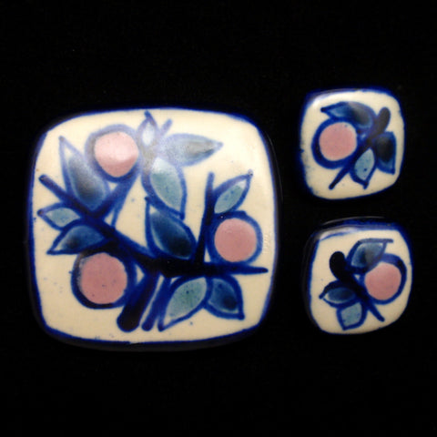 Fyrbo Ceramic Pin and Earrings