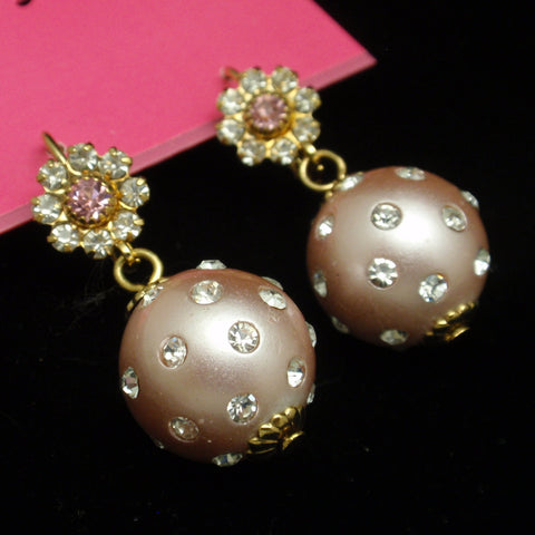 Betsey Johnson Rhinestone Ball Drop Earrings