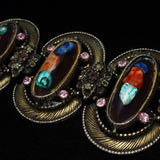 Chunky Retro 1950s Multi-Colored Bracelet Rhinestones Art Glass