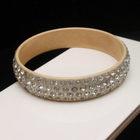 Rhinestone Studded Celluloid Bangle Bracelet