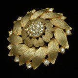 Rhinestone Flower Pin and Pendant Combo Vintage