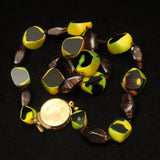 Chunky Art Glass Necklace w/ 2 Unusual Beads Vintage