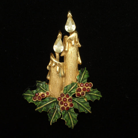 Christmas Candles and Holly Pin