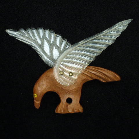 Wood and Celluloid Eagle Pin