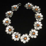 Daisy Flower Necklace Sterling Silver Vintage Taylord