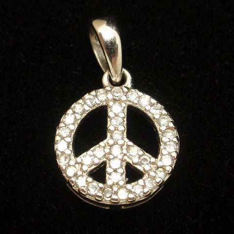 Sterling Silver CZ Peace Sign