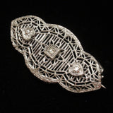Antique Brooch Pin White Metal Filigree