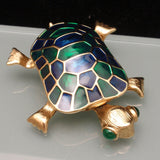 Turtle Brooch Pin Head Moves Vintage by Erwin Pearl