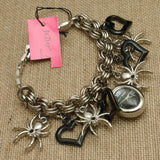 Betsey Johnson Spiders and Black Hearts Goth Charm Bracelet