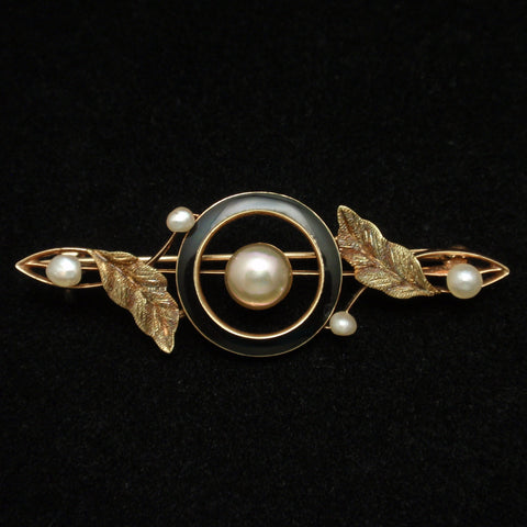 Antique 10k Gold Pin with Pearls and Enamel
