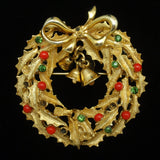 Art Christmas Wreath Pin