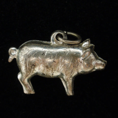 Puffy Pig Charm Vintage Sterling Silver Figural Good Luck