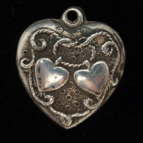Puffy Heart Charm Vintage Sterling Silver Walter Lampl Eternal Knot Love