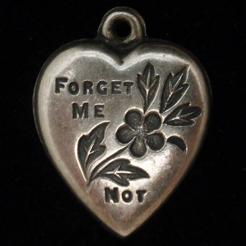 Puffy Heart Charm Forget-Me-Not Vintage Sterling Silver Engraved Percy 2-14-43