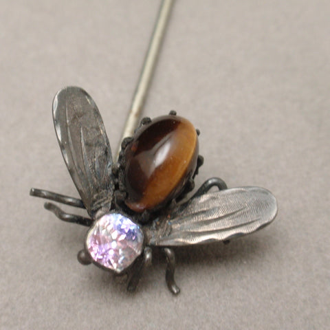 Insect Fly Stick Pin with Silver and Tiger's Eye Body Vintage