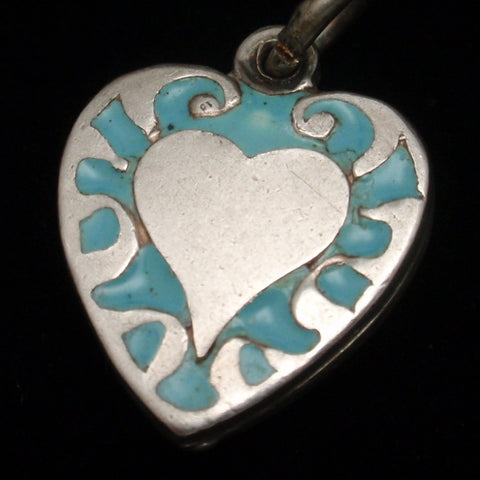 Puffy Heart Charm Vintage Enamel Sterling Silver Engraved BCM