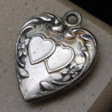 Vintage Silver Puffy Heart Charm