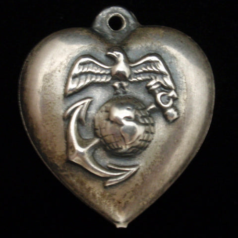 Puffy Heart Charm Marine Corps Vintage Sterling Silver Engraved BEE