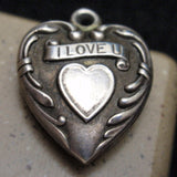 Puffy Heart Charm Vintage Sterling Silver I Love U Engraved Nell