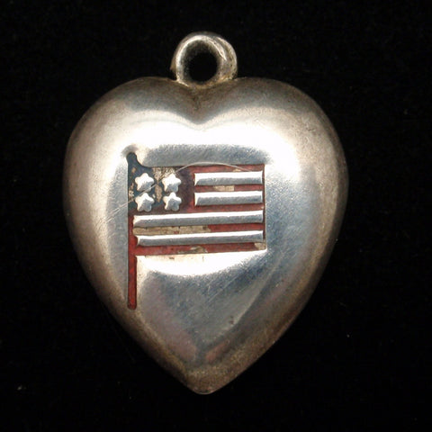 Puffy Heart Charm Vintage Sterling Silver Enamel American Flag