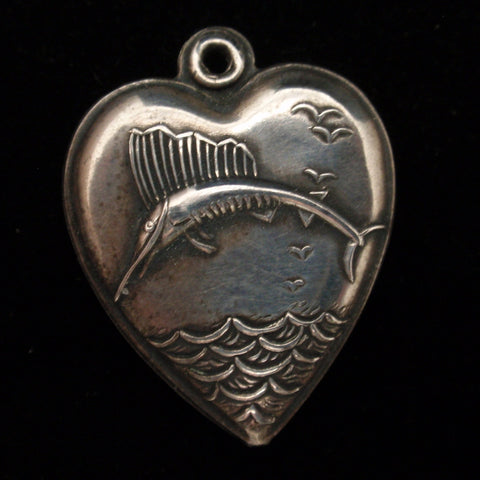 Puffy Heart Charm Deep Sea Game Fish Engraved LIB