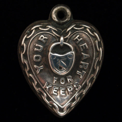 "Puffy Heart Charm ""Your Heart For Keeps"" Rebus Engraved J.V.R."