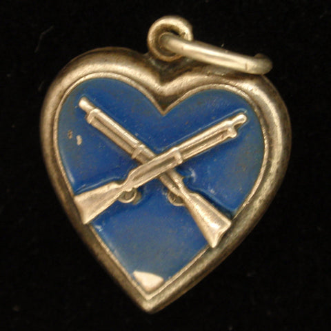 "Puffy Heart Charm Vintage Sterling Silver Enamel Crossed Infantry Rifles ""Delma"""