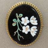 Glass Painted Flowers on Victorian Brooch Pin