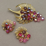 Flower Set with Dangling Beads Vintage Park Lane Pin & Earrings