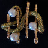 Snake and Bamboo Brooch Pin Vintage Erwin Pearl