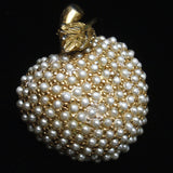 Apple Fruit Pin Studded with Pearlized Seed Beads Vintage