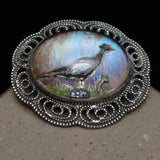 Pheasant Under Glass Pin Sterling Silver Butterfly Wing Intaglio Vintage Brooch
