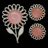 Pink & White Flower Set Vintage Moonglow Cabs Brooch Pin & Earrings