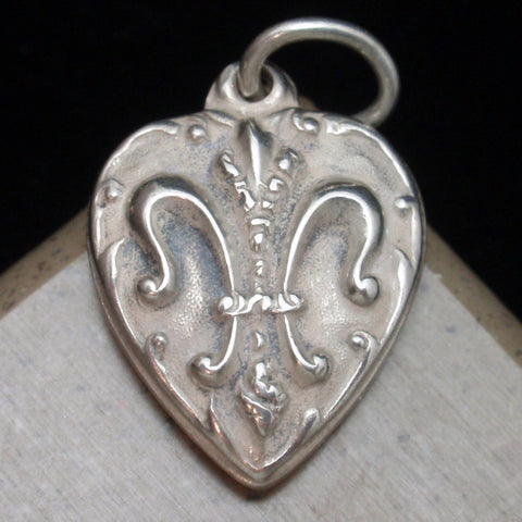Puffy Heart Charm Sterling Silver with Fleur-de-Lis and Engraved LOU