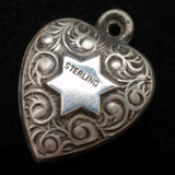 Puffy Heart Charm Vintage Sterling Silver Magen David Engraved EB