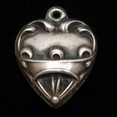 Puffy Heart Charm Vintage Sterling Silver Art Deco Repousse