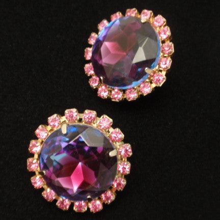 Purple & Pink Rhinestone Earrings Vintage Clips