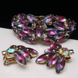 Givre Marquise Stones Clamper Bracelet & Earrings Set Vintage