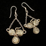 Clover Earrings Sterling Silver Pyrite Vintage